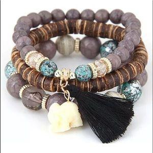 BOHO Bracelet Set Stretch Elephant Charm